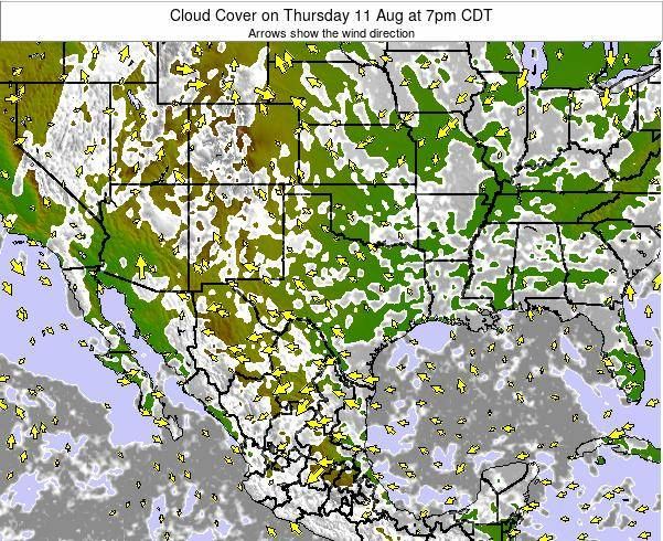 Texas Cloud Cover on Sunday 26 May at 1am CDT