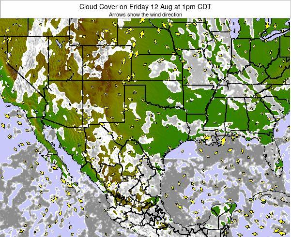 Texas Cloud Cover on Sunday 26 May at 7pm CDT
