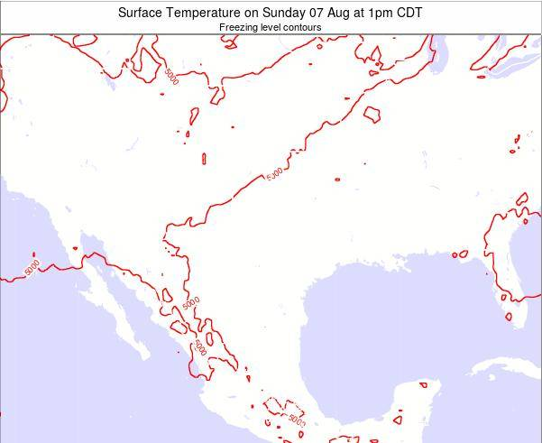 Texas Surface Temperature on Wednesday 24 Apr at 7am CDT map