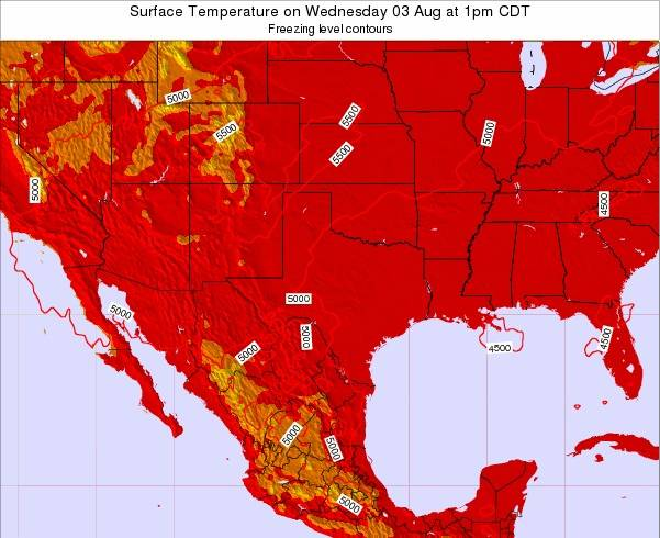 Texas Surface Temperature on Wednesday 24 Apr at 1pm CDT map