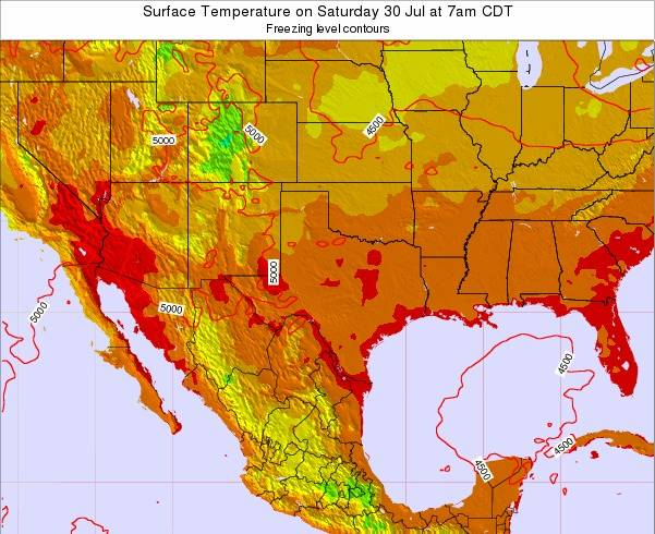 Texas Surface Temperature on Monday 28 Jul at 1pm CDT