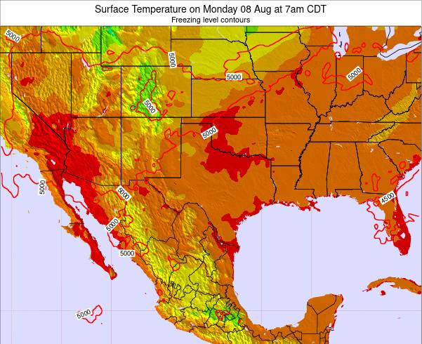 Texas Surface Temperature on Saturday 25 Oct at 7am CDT
