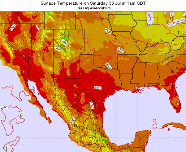 Texas Surface Temperature on Friday 02 Sep at 7am CDT