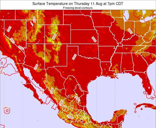 Texas Surface Temperature on Wednesday 01 May at 1am CDT map
