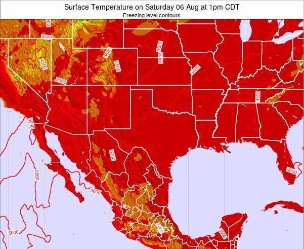Texas Surface Temperature on Sunday 21 Apr at 1am CDT map