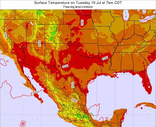Texas Surface Temperature on Tuesday 23 Apr at 1am CDT map