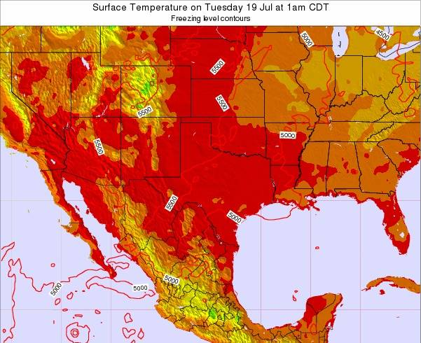Texas Surface Temperature on Sunday 27 Jul at 1pm CDT