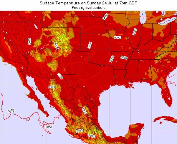 Texas Surface Temperature on Thursday 26 May at 1pm CDT
