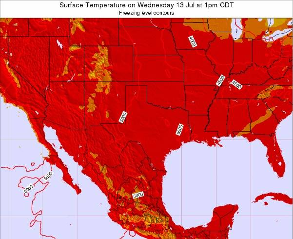 Texas Surface Temperature on Monday 22 Apr at 1am CDT map
