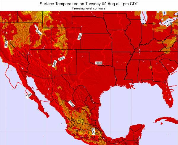 Texas Surface Temperature on Saturday 07 Dec at 6pm CST