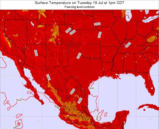 Texas Surface Temperature on Monday 03 Oct at 7pm CDT