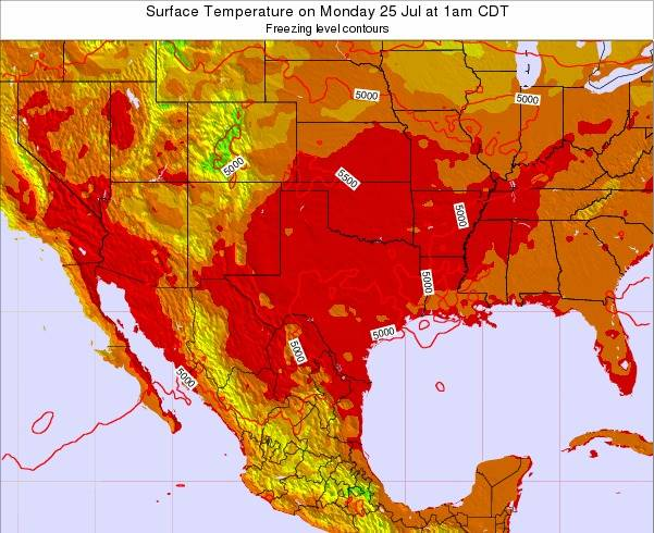 Texas Surface Temperature on Friday 24 May at 7pm CDT