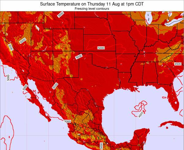 Texas Surface Temperature on Friday 25 Apr at 7pm CDT