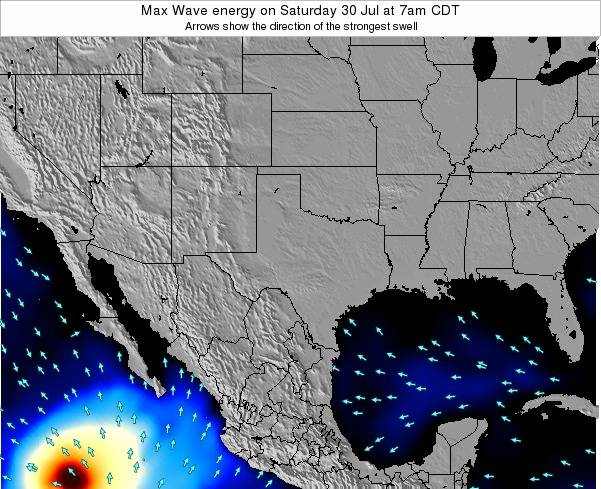 Texas Max Wave energy on Tuesday 21 May at 7am CDT