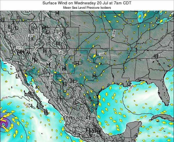 Texas Surface Wind on Tuesday 25 Jun at 1am CDT map