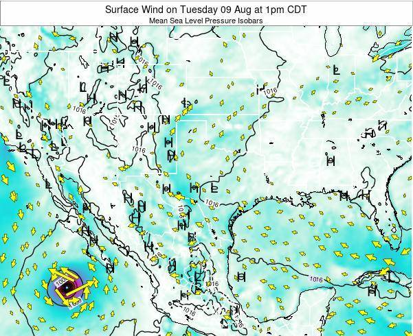 Texas Surface Wind on Tuesday 31 May at 7pm CDT