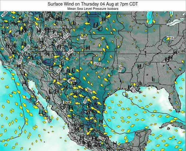 Texas Surface Wind on Sunday 23 Jun at 1pm CDT