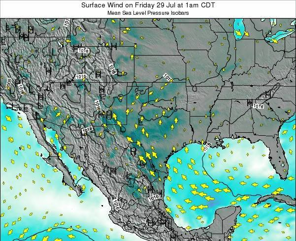 Texas Surface Wind on Monday 12 Dec at 6am CST