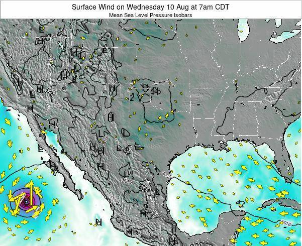 Texas Surface Wind on Thursday 13 Mar at 7pm CDT