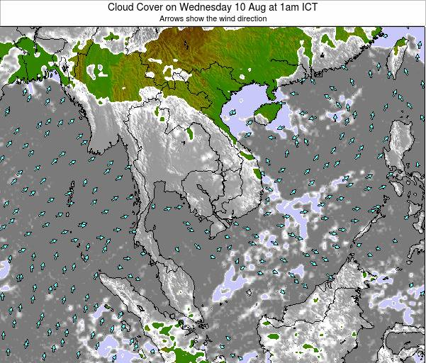 Thailand Cloud Cover on Thursday 30 May at 7am ICT