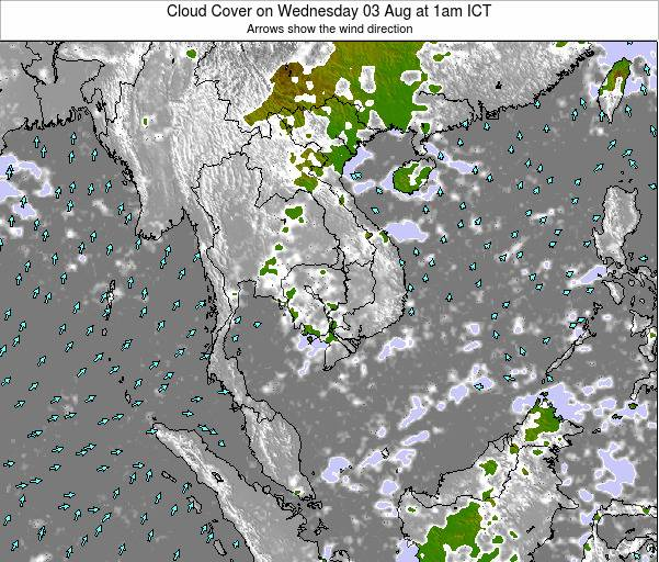 Thailand Cloud Cover on Monday 20 May at 7am ICT