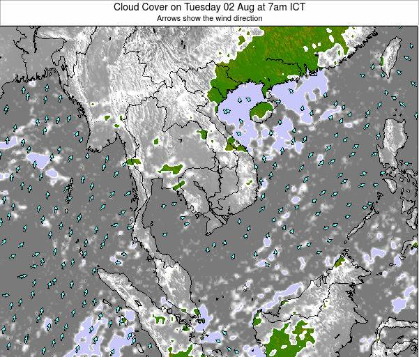 Thailand Cloud Cover on Wednesday 22 May at 7am ICT