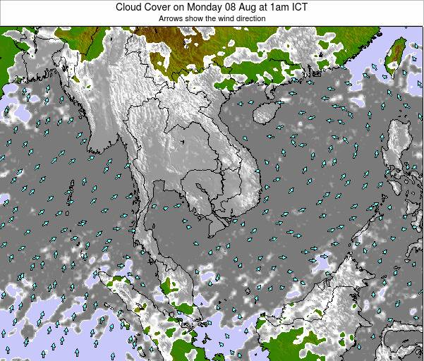 Laos Cloud Cover on Tuesday 23 Apr at 7pm ICT map