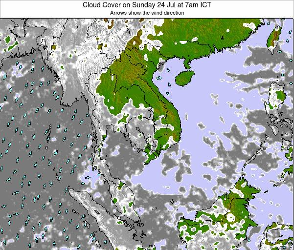 Thailand Cloud Cover on Monday 27 May at 1am ICT