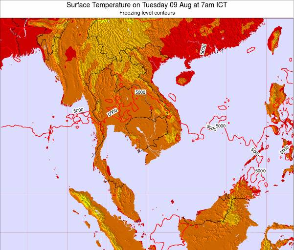 VietNam Surface Temperature on Thursday 23 May at 1pm ICT