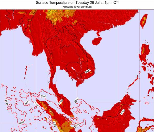 VietNam Surface Temperature on Wednesday 12 Mar at 7pm ICT