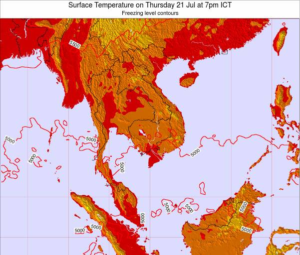VietNam Surface Temperature on Friday 25 Apr at 1pm ICT