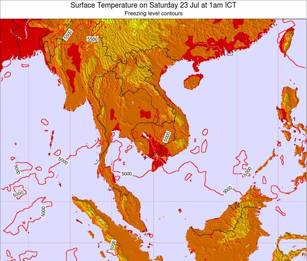 VietNam Surface Temperature on Monday 04 Aug at 1pm ICT