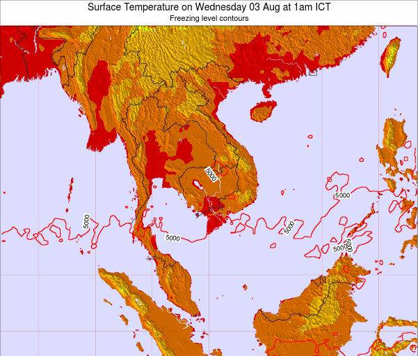 VietNam Surface Temperature on Tuesday 23 Sep at 7pm ICT