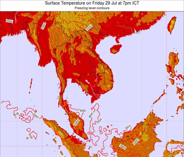 VietNam Surface Temperature on Tuesday 29 Apr at 1pm ICT