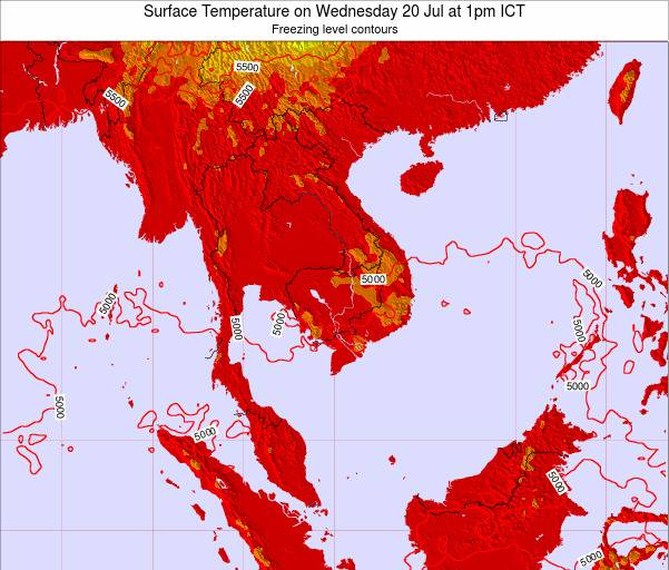 VietNam Surface Temperature on Sunday 09 Mar at 1am ICT