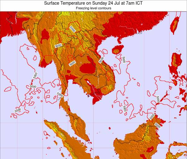VietNam Surface Temperature on Thursday 24 Apr at 1am ICT