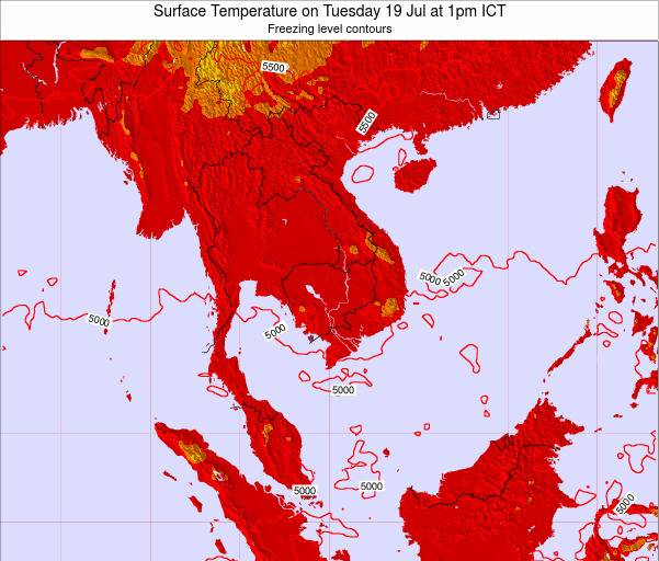 VietNam Surface Temperature on Monday 09 Dec at 7am ICT