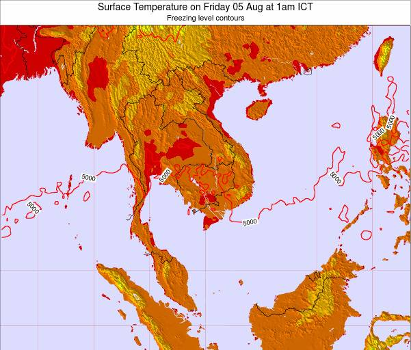 VietNam Surface Temperature on Wednesday 23 Jul at 7am ICT