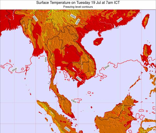 VietNam Surface Temperature on Monday 20 May at 1pm ICT