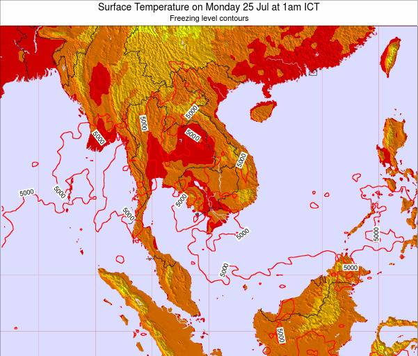 Laos Surface Temperature on Sunday 26 May at 7am ICT map
