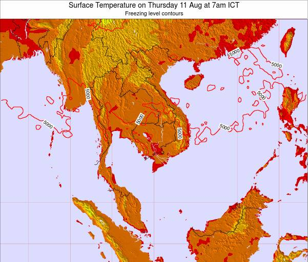 VietNam Surface Temperature on Saturday 02 Aug at 7am ICT