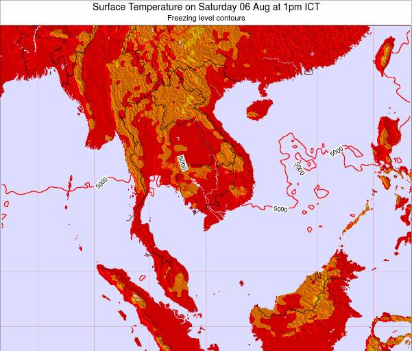 VietNam Surface Temperature on Sunday 19 Apr at 7am ICT