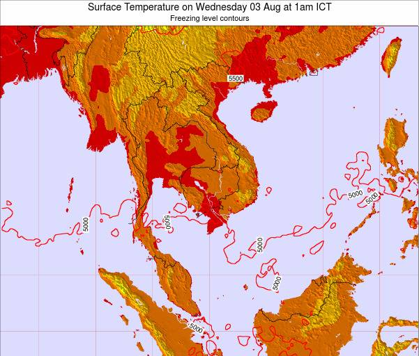 VietNam Surface Temperature on Tuesday 29 Apr at 7pm ICT