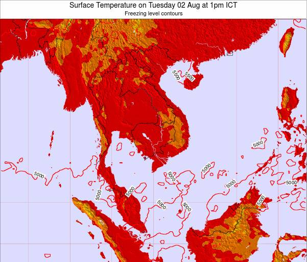 VietNam Surface Temperature on Tuesday 29 Jul at 1am ICT