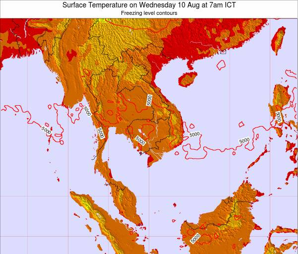 VietNam Surface Temperature on Tuesday 10 Dec at 7am ICT