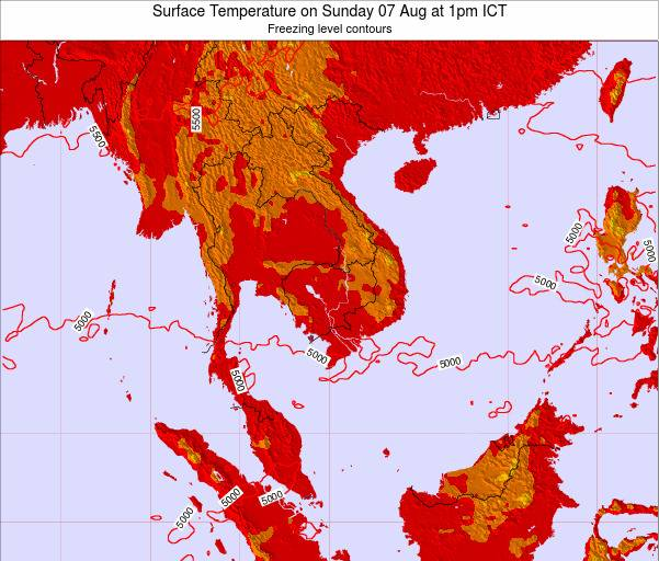 VietNam Surface Temperature on Saturday 15 Mar at 7am ICT