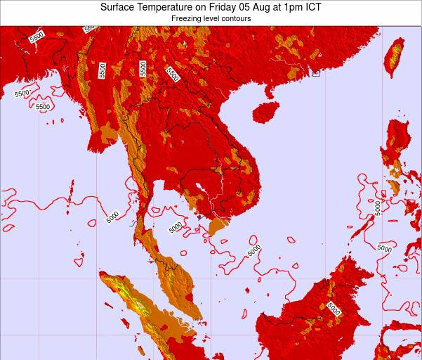 VietNam Surface Temperature on Wednesday 29 May at 7pm ICT