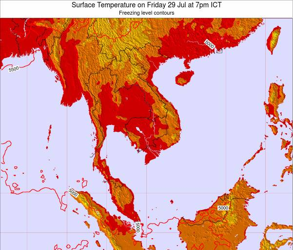 VietNam Surface Temperature on Tuesday 05 Aug at 7pm ICT