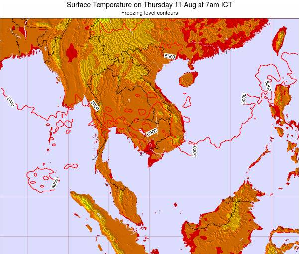 VietNam Surface Temperature on Tuesday 22 Apr at 7am ICT