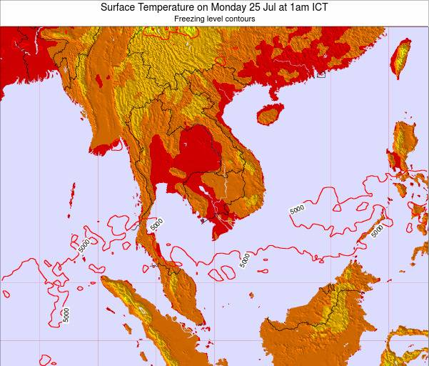 VietNam Surface Temperature on Sunday 03 May at 1am ICT